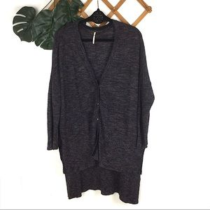 Free People Knit Grey Cardigan Sweater Grandpa Med